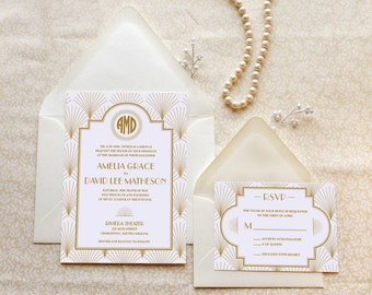 The Charleston - Art Deco Wedding Invitation - 1920s wedding - Gatsby Wedding - Old Hollywood - Monogram Wedding