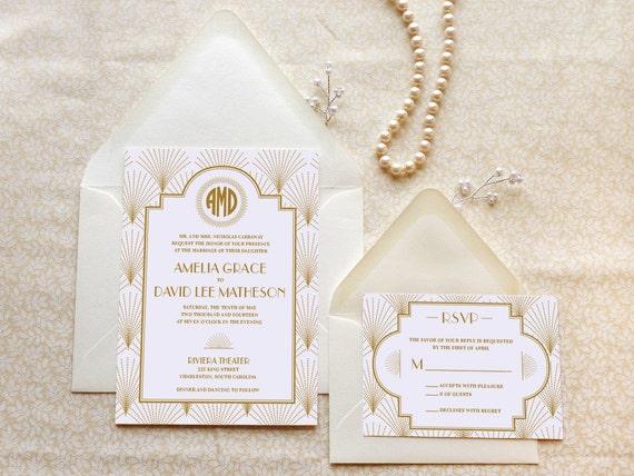 Artist Wedding Invitations: The Charleston Art Deco Wedding Invitation 1920s Wedding