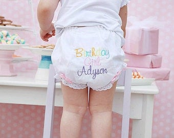 Birthday girl bloomers...Happy Birthday bloomers...personalized bloomers...Girl Bloomers ...Custom birthday bloomers