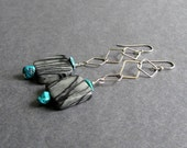 "Sterling Silver and Gemstone Earrings, Black Picasso Jasper, Turquoise, Statement Jewelry, ""Abstract"""