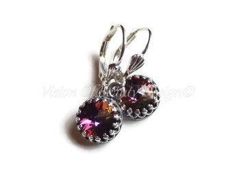 Crystal Volcano Earrings in Antique Silver - Alexandrite Earrings by Vision of Beauty Design