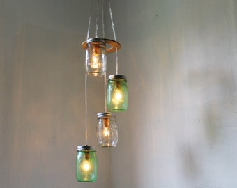 SPRING GREEN Mason Jar Chandelier - Upcycled Hanging Lighting Fixture Featuring 4 Spiraling Jars - Rustic BootsNGus Modern Country Lamp