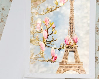 Paris Photo Notecard - Eiffel Tower with Magnolia Blossoms, Travel Note Card, Stationery