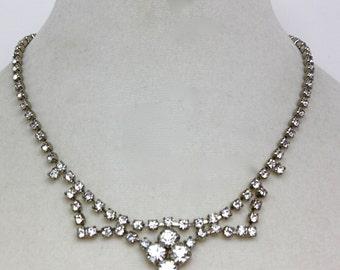 Vintage 50s Rhinestone Necklace & Earrings Sparkling Rhinestone Choker Dangle Earrings Screw Backs