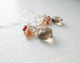Gemstone Cluster Earrings - Andalusite and Hessonite Garnet- Sterling Silver Dangles