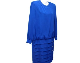 1980's Drop Waist Dress Blue Dress Vintage Dress Size 14 Royal Blue Long Sleeve Designer Elegant Couture Dress Dominic Rompollo Jena Roberta
