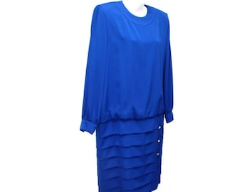 1980's Dress Blue Dress Vintage Dress Size 14 Royal Blue Drop Waist Long Sleeve Designer Elegant Couture Dress Dominic Rompollo Jena Roberta