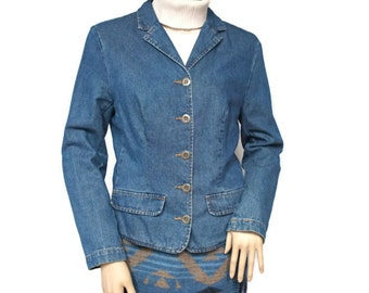 Vintage Jean Jacket Blazer Denim Jacket 1980's Denim Blazer Hip Length Preppy Boho Size Small to Medium