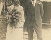 love, wedding, marriage, married couple, sepia, 1930's, vintage, Vintage Photograph Postcard
