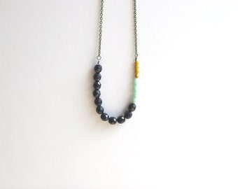 Navy, Mint, Mustard Yellow Long Beaded Necklace // Bohemian Long Necklace // Tribal Necklace // Urban Long Necklace