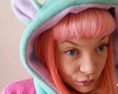 Mint and lilac cat hood. Hooded scarf with Kitty Cat Ears. Festival Hood. Cosplay Hood. Fleece Hood.