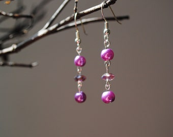 Purple pearl and crystal earrings