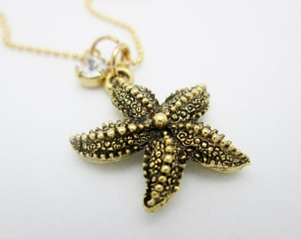 Starfish Necklace, Starfish Charm Necklace in Antique Gold Finish B019