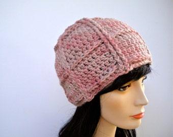 Hat Beanie Dusky Pink Hand Dyed Wool Silk Alpaca Blend