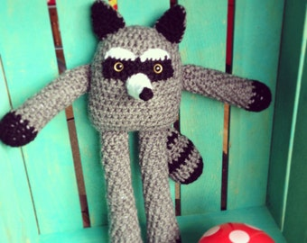 Ready to Ship! Crocheted Raccoon Doll- Forest Friends Collection