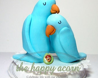 Blue Love Birds Wedding Cake Topper - READY TO SHIP - Handmade by The Happy Acorn