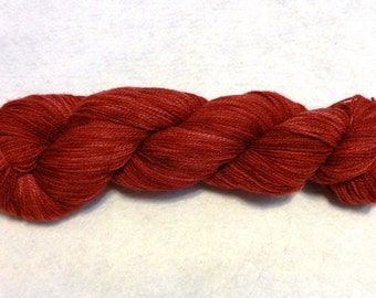 SALE - Hand-Dyed Lace Weight Yarn for Knitting, Crocheting or Weaving - Cranberry Red - approx 400 yards