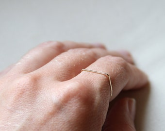 14k SOLID White Yellow or Rose Gold Square Top - Simple Thread of Gold - Tiny Hammered Stack Ring - Skinny and Thin