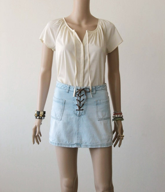 Jean Scooter Skirt Denim Skorts Lace Up Skirt Jean Skirt Mini