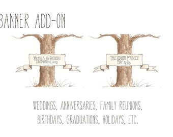 Wedding Tree Guest Book BANNER ADD-ON Hand lettered / Original Watercolor Painting
