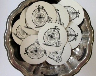 Penny Farthing Bicycle Tags Round Paper Gift Tags Set of 10