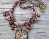 Light Purple, Brown, and Pink Necklace with a Rose Clock Ephemera Pendant