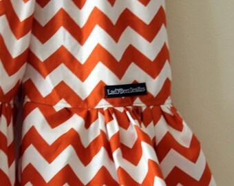 "Girls Ruffle Pants- Orange and White Chevron - Made from Viola Lee Pattern ""Emma Lee"""