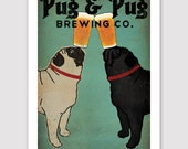 PERSONALIZED  -- Pug & Pug Black Pug Brewing Co. Beer  ILLUSTRATION Giclee Print signed