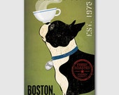 BOSTON TERRIER Brown Black Free Customization Personalization Coffee Co. Beer Wine Tea Martini ILLUSTRATION canvas