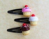 polymer clay cupcake hair clips snap clips barrettes