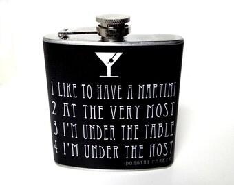 Gift for Poet, Flask for Writer, Dorothy Parker Poem, Martini Gift, Bachelorette Gift, Funny Flask, Gift for Martini Lover, Lounge Lover