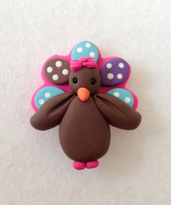 Polymer clay Turkey  -  Bow Topper or Pendant