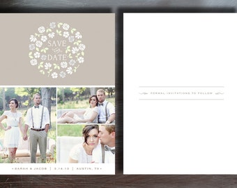 SALE! INSTANT DOWNLOAD - Vintage Save the Date Photography Template - Wedding Photography Photoshop Template - Design By Bittersweet