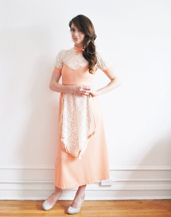 peaches and cream lace dress. boho apron frock .extra small xs .sale