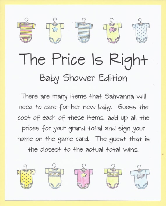 the price is right baby shower game onesie baby shower theme