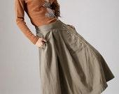 Khaki skirt woman Maxi linen skirt with button detail front (857)