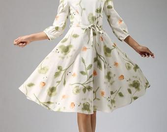 High Quality Garden Party Dress, Floral Dress, Print Dress, Midi Dress, Linen Dress,