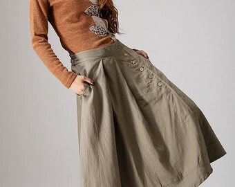 khaki line skirt - modern style maxi skirt with button detail - long casual skirt with elastic waist and pockets - plus size skirt  (857)