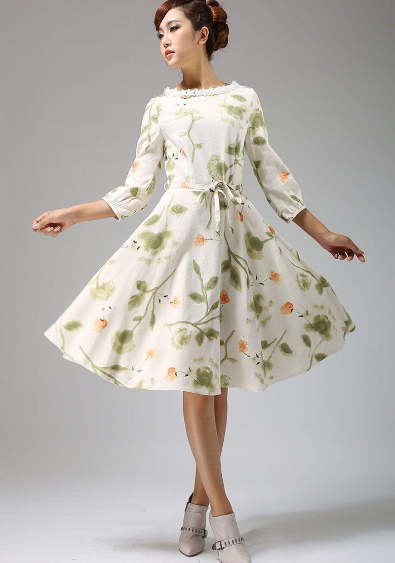 Garden party dress floral dress print dress midi dress for Garden party dresses