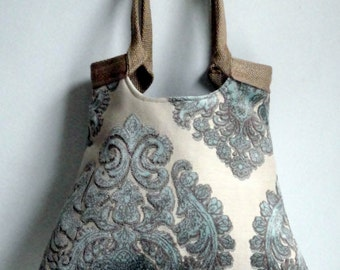 Mint damask tapestry tote bag with jute