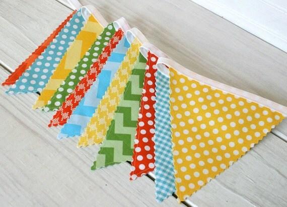 Bunting Banner, Photo Prop, Fabric Flags, Birthday Decoration, Nursery Decor, Home Decor - Yellow, Orange, Aqua Blue, Green, Chevron