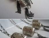 Silver Lantern & Tassel Necklace. Hollow Cut Out Tassel Bead with Chain Tassel (1)