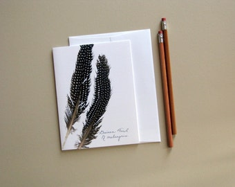 Feather greeting card, natural bird feather card, Guinea fowl, modern card, no.03
