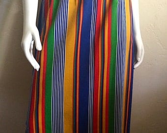 Vintage Women's 80's Skirt, Striped, Colorful, Cotton by Century (M/L)