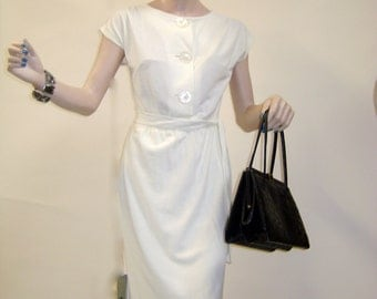 Koret of California 1960s Off White Cotton Travel Dress