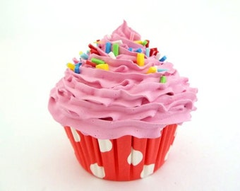 Fake Cupcake candy shop decoration CUPCAKE CANDY LAND -  cupcake shop, bakery decoration , gift  for baker red polka dot retro liner