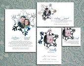 Snowflakes - Printable Wedding Invitation Suite with Engagement Photos