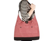 Fuchsia Microsuede Shoulder Bag with Oxford Clothe Lining