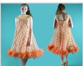 Vintage 60s Mod Dress Mini Dress Sheer Lace Twiggy GoGo Mini Dress 1960s High Fashion Mini Party Dress Ostrich Feather Hem S / M