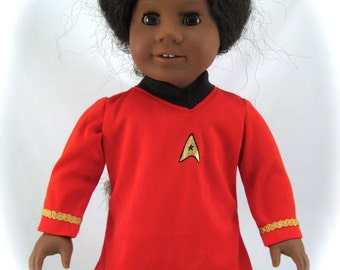 American Girl sized Red Star Trek like Mini Dress